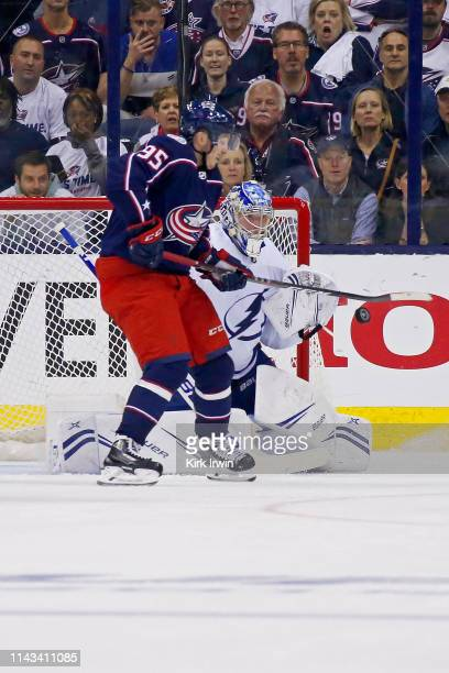 Andrei Vasilevskiy of the Tampa Bay Lightning makes a save on a deflected shot by Matt Duchene of the Columbus Blue Jackets in Game Four of the...