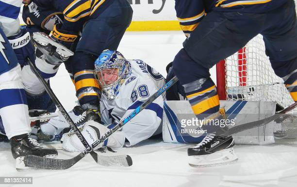 Andrei Vasilevskiy of the Tampa Bay Lightning makes a third period save against the Buffalo Sabres during an NHL game on November 28 2017 at KeyBank...
