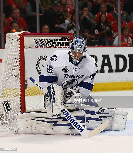 Andrei Vasilevskiy of the Tampa Bay Lightning makes the save against the Chicago Blackhawks during Game Four of the 2015 NHL Stanley Cup Final at the...
