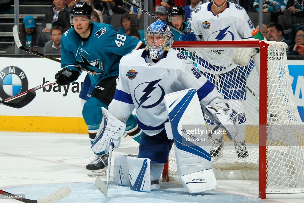 Andrei Vasilevskiy #88 of the Tampa Bay Lightning protects the net during a NHL game against the San Jose Sharks at SAP Center on November 8, 2017 in San Jose, California.