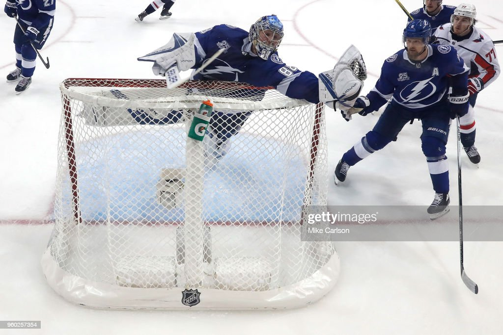 Andrei Vasilevskiy #88 of the Tampa Bay Lightning reaches over the net to make a save against the Washington Capitals during the second period in Game Five of the Eastern Conference Finals during the 2018 NHL Stanley Cup Playoffs at Amalie Arena on May 19, 2018 in Tampa, Florida.