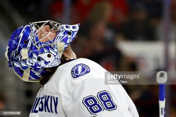 Andrei Vasilevskiy of the Tampa Bay Lightning reacts during the third period in Game Five of the Second Round of the 2021 Stanley Cup Playoffs...