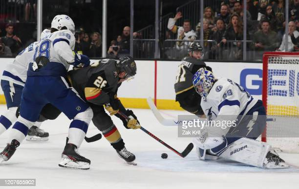 Andrei Vasilevskiy of the Tampa Bay Lightning saves a shot by Paul Stastny of the Vegas Golden Knights during the second period at TMobile Arena on...