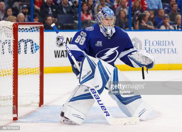 Andrei Vasilevskiy of the Tampa Bay Lightning skates against the Detroit Red Wings during the second period at Amalie Arena on October 26 2017 in...