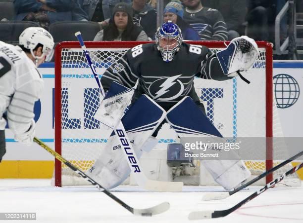 Andrei Vasilevskiy of the Tampa Bay Lightning skates in the game between Metropolitan Division and Atlantic Division during the 2020 Honda NHL...