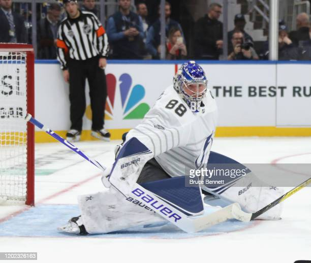 Andrei Vasilevskiy of the Tampa Bay Lightning skates in the game between Atlantic Division v Pacific Division during the 2020 Honda NHL All-Star Game...