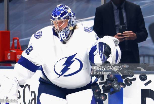 Andrei Vasilevskiy of the Tampa Bay Lightning skates in warm-ups prior to the game against the New York Islanders in Game Six of the NHL Stanley Cup...