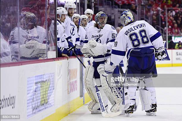 Andrei Vasilevskiy of the Tampa Bay Lightning skates off the ice after being replaced by Kristers Gudlevskis in the third period during a NHL game...