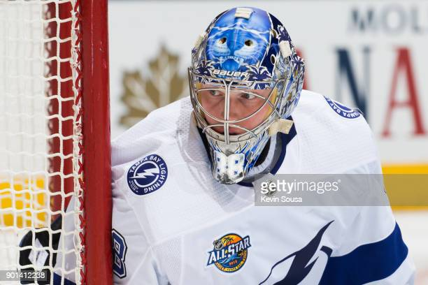Andrei Vasilevskiy of the Tampa Bay Lightning stands in his net against the Toronto Maple Leafs during the second period at the Air Canada Centre on...