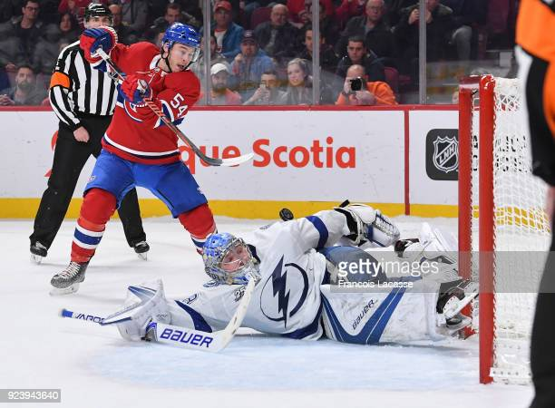 Andrei Vasilevskiy of the Tampa Bay Lightning stops a shot by Charles Hudon of the Montreal Canadiens during the shootout in the NHL game at the Bell...