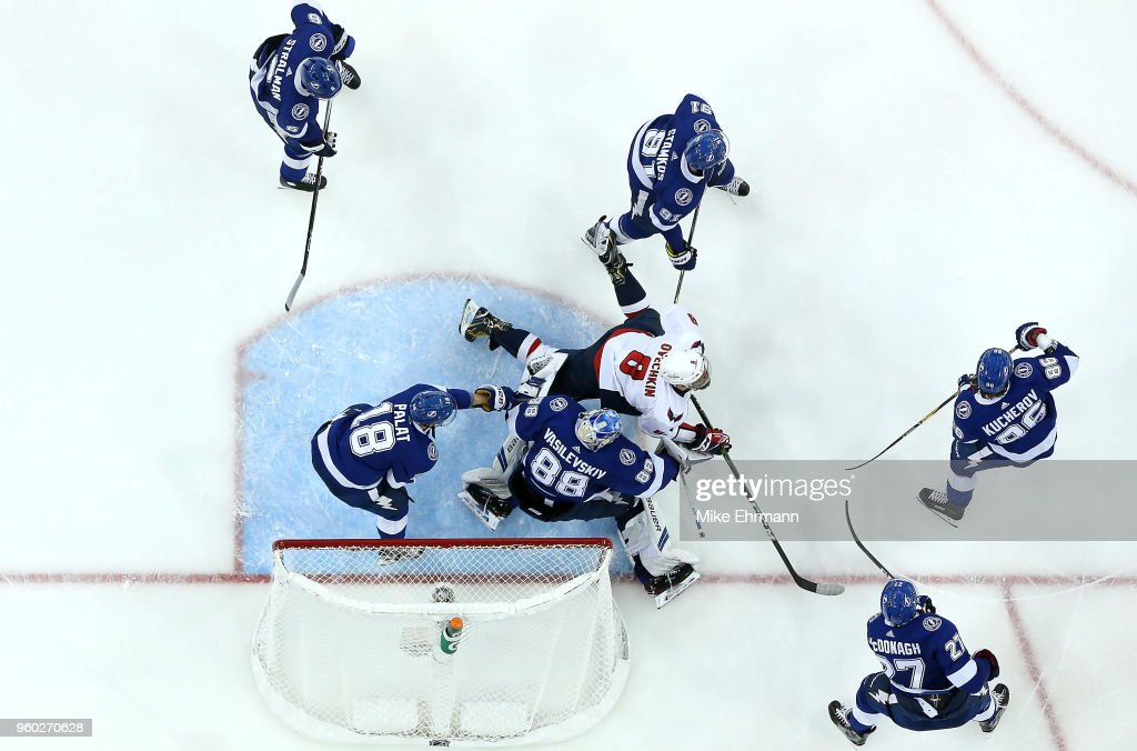 Andrei Vasilevskiy #88 of the Tampa Bay Lightning stops a shot from Alex Ovechkin #8 of the Washington Capitals in Game Five of the Eastern Conference Finals during the 2018 NHL Stanley Cup Playoffs at Amalie Arena on May 19, 2018 in Tampa, Florida.