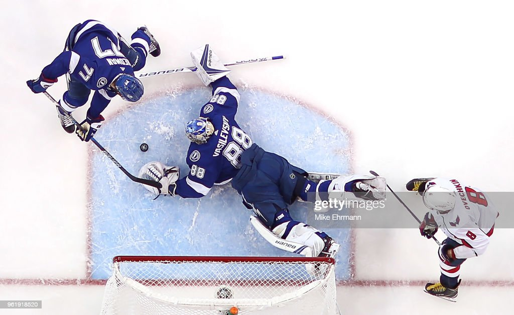 Andrei Vasilevskiy #88 of the Tampa Bay Lightning stops a shot from Alex Ovechkin #8 of the Washington Capitals in Game Seven of the Eastern Conference Finals during the 2018 NHL Stanley Cup Playoffs at Amalie Arena on May 23, 2018 in Tampa, Florida.