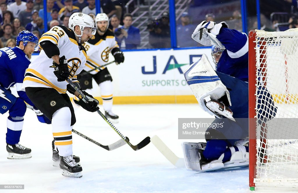 Andrei Vasilevskiy #88 of the Tampa Bay Lightning stops a shot from Brad Marchand #63 of the Boston Bruins during Game Two of the Eastern Conference Second Round during the 2018 NHL Stanley Cup Playoffs at Amalie Arena on April 30, 2018 in Tampa, Florida.