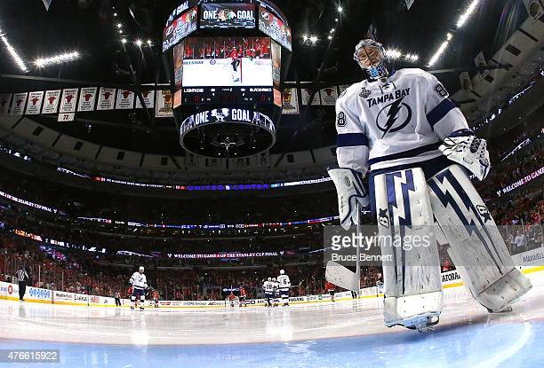 Andrei Vasilevskiy of the Tampa Bay Lightning takes his position to start the second period against the Chicago Blackhawks during Game Four of the...