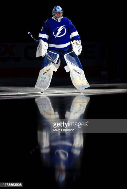 Andrei Vasilevskiy of the Tampa Bay Lightning takes the ice during the home opener against the Florida Panthers at Amalie Arena on October 03, 2019...