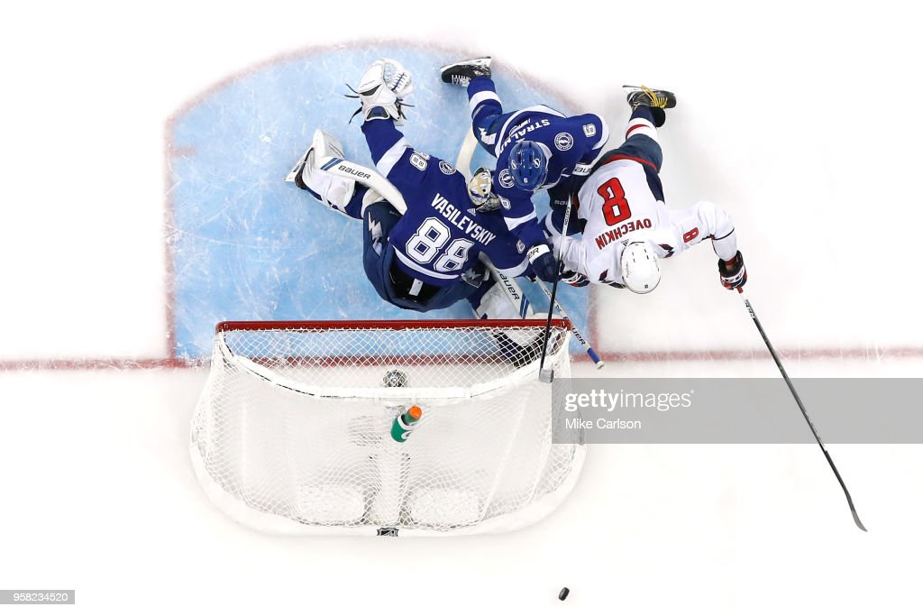 Andrei Vasilevskiy #88 of the Tampa Bay Lightning tends goal against Alex Ovechkin #8 of the Washington Capitals in Game Two of the Eastern Conference Finals during the 2018 NHL Stanley Cup Playoffs at Amalie Arena on May 13, 2018 in Tampa, Florida.