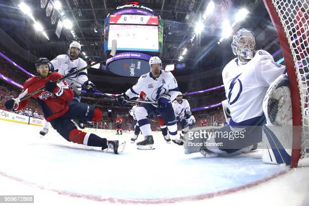 Andrei Vasilevskiy of the Tampa Bay Lightning tends goal against Lars Eller of the Washington Capitals during the first period in Game Four of the...