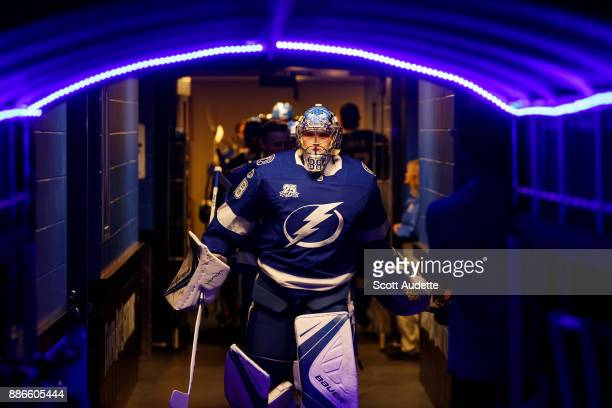 Andrei Vasilevskiy of the Tampa Bay Lightning walks out of the locker room before the game against the New York Islanders during pregame at Amalie...
