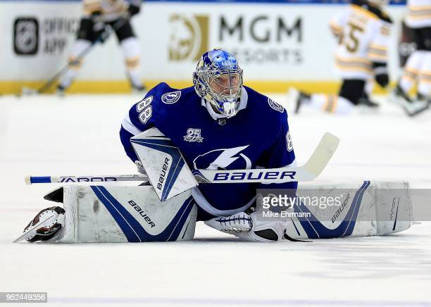 Tuukka Rask of the Boston Bruins celebrate the win against the Tampa Bay Lightning during Game One of the Eastern Conference Second Round during the...