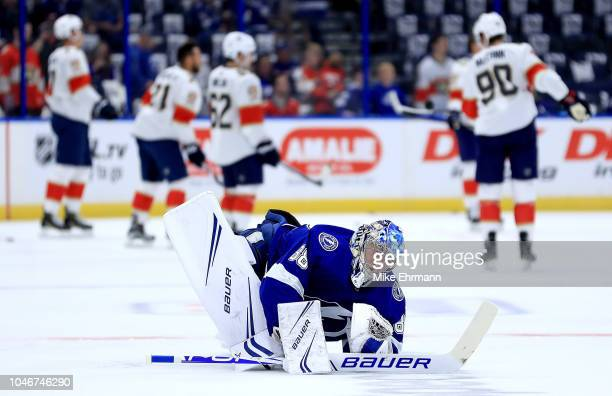 Andrei Vasilevskiy of the Tampa Bay Lightning warms up during Opening Night against the Florida Panthers at Amalie Arena on October 6 2018 in Tampa...