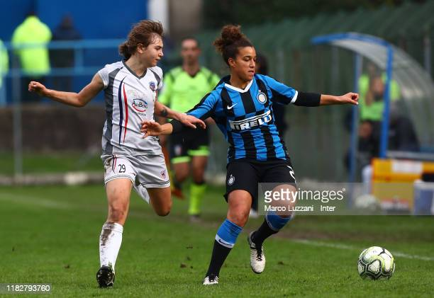 Andreia Alexandra Norton of FC Internazionale competes for the ball with Marzia Visani of Orobica Bergamo during the Women Serie A match between FC...