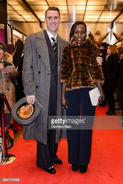 Andrej and Joyce Hermlin arrive at the red carpet of the BZ Kulturpreis at Theater am Kurfuerstendamm on January 20 2014 in Berlin Germany