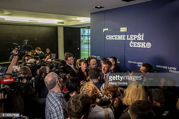 Andrej Babis Slovakborn billionaire Czech finance minister and leader of the ANO movement talks with media during the second day of the Czech...