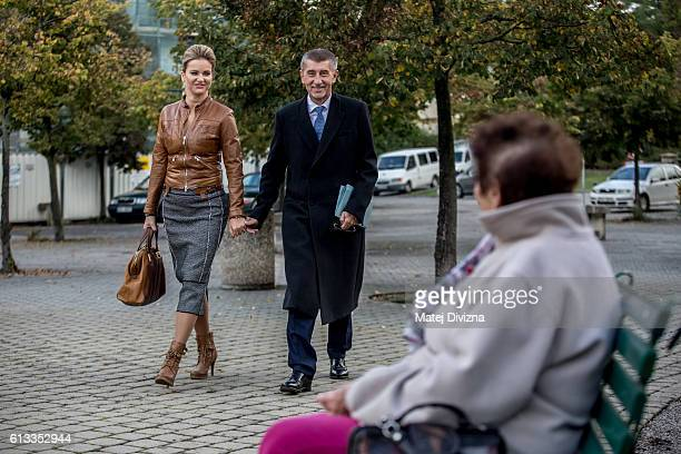 Andrej Babis Slovakborn billionaire Czech finance minister and leader of the ANO movement arrives with his wife for casting his ballot during the...