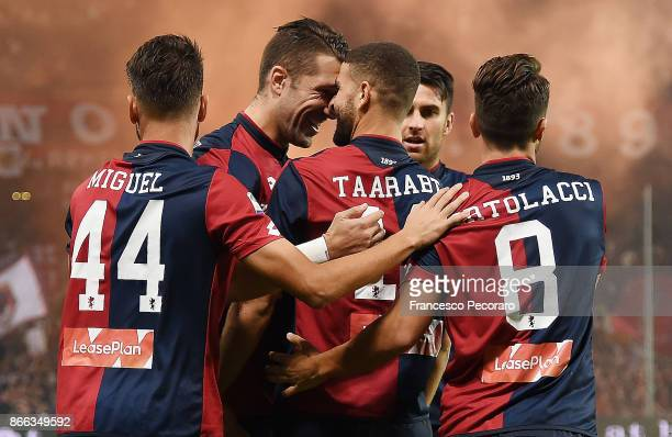 Andrej Galabinov and Adel Taarabt of Genoa CFC celebrate the 10 goal scored by Adel Taarabt during the Serie A match between Genoa CFC and SSC Napoli...