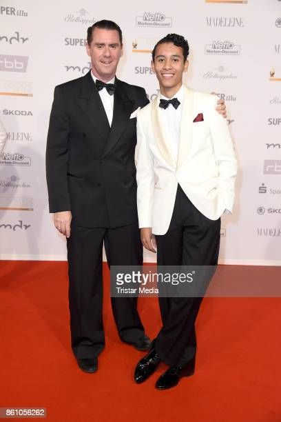 Andrej Hermlin and his son David Hermlin attend the Goldene Henne on October 13 2017 in Leipzig Germany