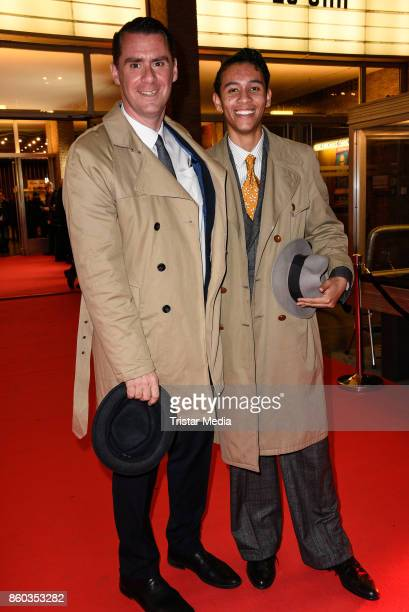 Andrej Hermlin and his son David Hermlin attend the Premiere 'Vorwaerts immer' at Kino International on October 11 2017 in Berlin Germany