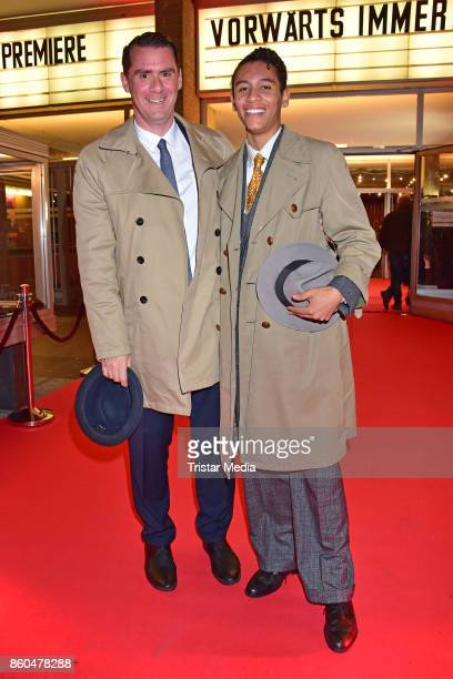 Andrej Hermlin and his son David Hermlin attend the 'Vorwaerts immer' premiere at Kino International on October 11 2017 in Berlin Germany