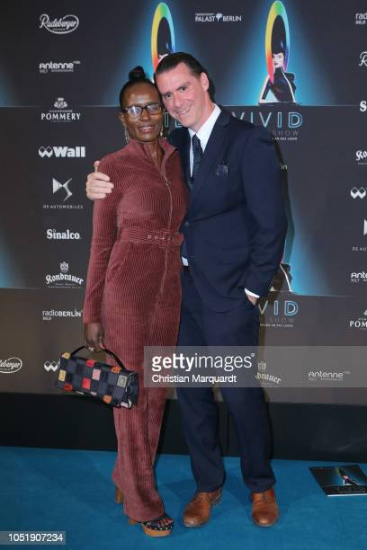 Andrej Hermlin and Joyce Hermlin attends the VIVID Grand Show premiere at FriedrichstadtPalast on October 11 2018 in Berlin Germany