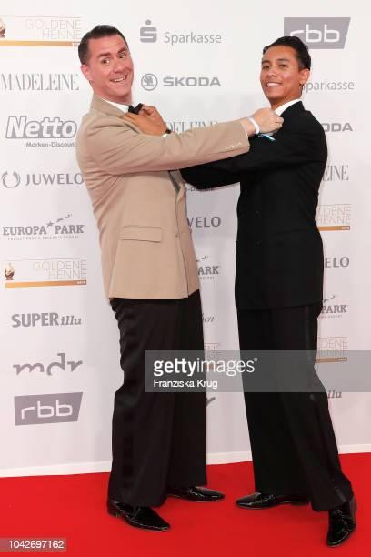 Andrej Hermlin and son David Hermlin attend the Goldene Henne on September 28 2018 in Leipzig Germany