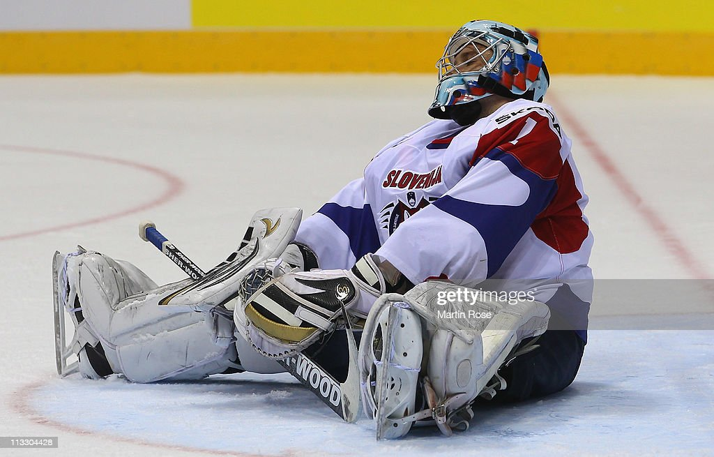 Andrej Hocevar of Slovenia looks dejected after the IIHF World Championship group A match between Russia and Slovenia at Orange Arena on May 1, 2011 in Bratislava, Slovakia.