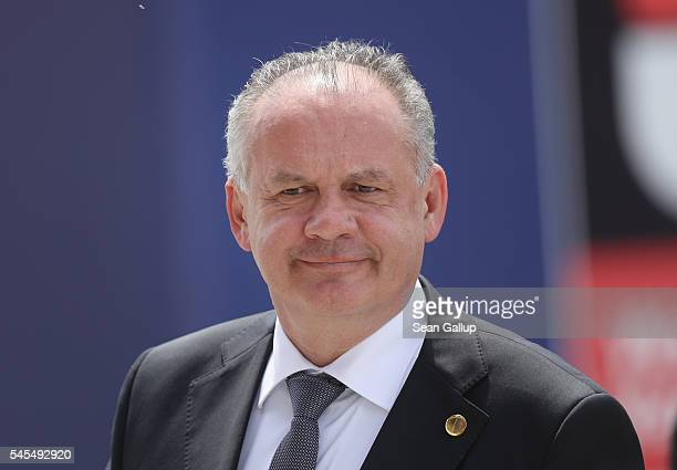 Andrej Kiska President of Slovakia arrives for the Warsaw NATO Summit on July 8 2016 in Warsaw Poland NATO member heads of state foreign ministers...