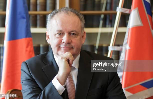 Andrej Kiska Slovakia's president poses for a photograph in his office following an interview in Bratislava Slovakia on Thursday April 27 2017 Kiska...