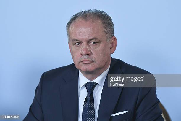 Andrej Kiska the President of Slovakia during the press conference with the participation of the four Presidents of Visegrad Group in Rzeszow's Grand...