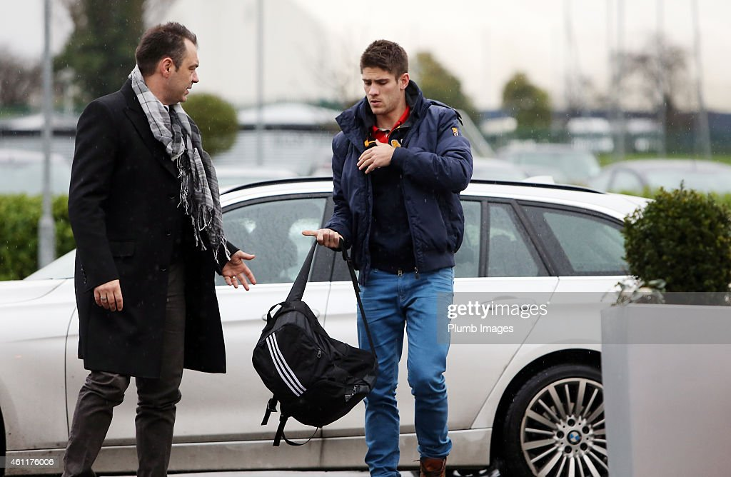 Andrej Kramaric arrives at Leicester City FC ahead of a proposed transfer to the club at Belvoir Drive Training Ground on January 8, 2015 in Leicester, England.