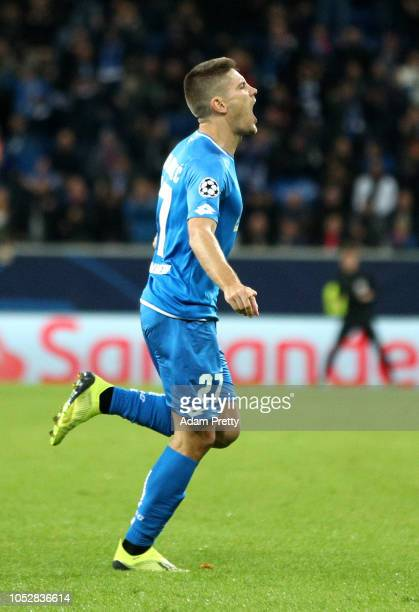 Andrej Kramaric of 1899 Hoffenheim celebrates after scoring his team's second goal during the Group F match of the UEFA Champions League between TSG...