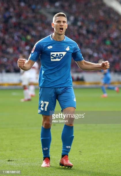 Andrej Kramaric of 1899 Hoffenheim celebrates after scoring his team's first goal during the Bundesliga match between VfB Stuttgart and TSG 1899...