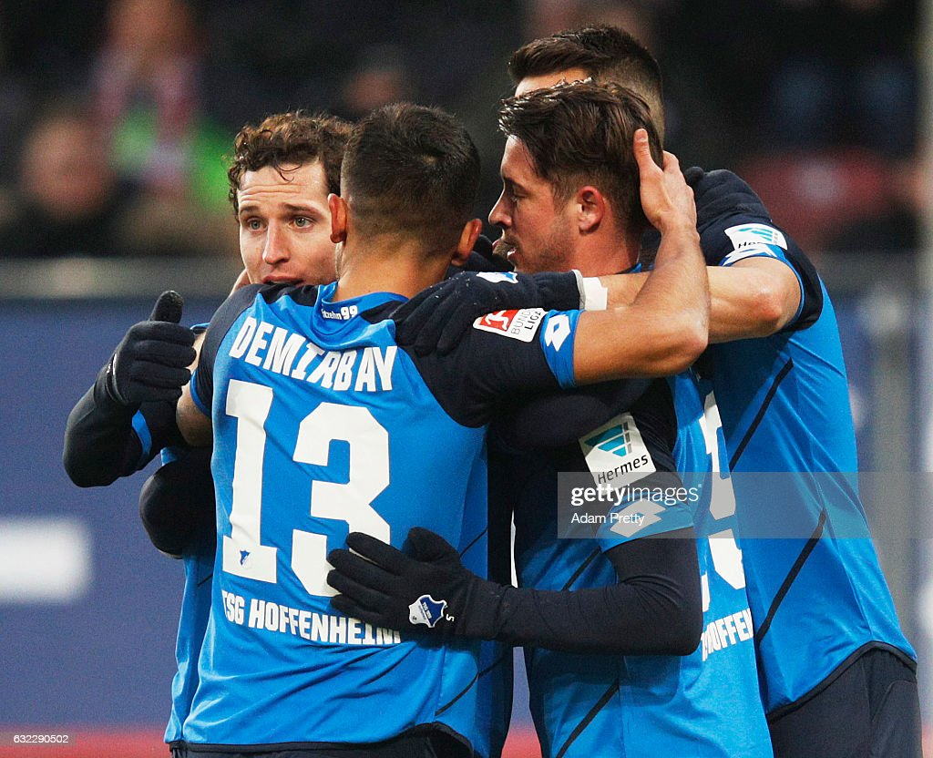 Andrej Kramaric of 1899 Hoffenheim is congratulated after scoring the second goal during the Bundesliga match between FC Augsburg and TSG 1899 Hoffenheim at WWK Arena on January 21, 2017 in Augsburg, Germany.