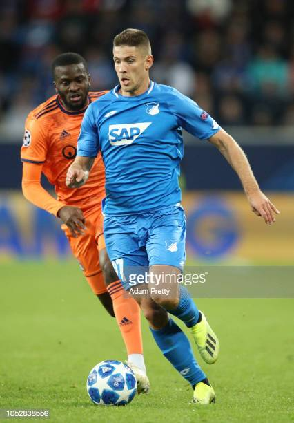 Andrej Kramaric of 1899 Hoffenheim runs with the ball during the Group F match of the UEFA Champions League between TSG 1899 Hoffenheim and Olympique...