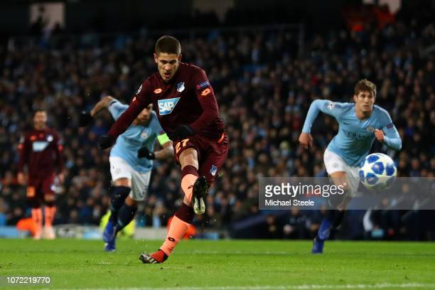 Andrej Kramaric of 1899 Hoffenheim scores his sides first goal during the UEFA Champions League Group F match between Manchester City and TSG 1899...