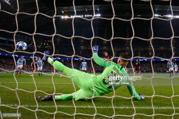 Andrej Kramaric of 1899 Hoffenheim scores his sides first goal past Ederson of Manchester City during the UEFA Champions League Group F match between...