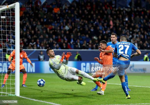 Andrej Kramaric of 1899 Hoffenheim scores his team's first goal during the Group F match of the UEFA Champions League between TSG 1899 Hoffenheim and...
