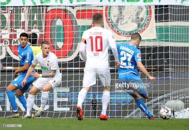 Andrej Kramaric of 1899 Hoffenheim scores his team's first goal during the Bundesliga match between FC Augsburg and TSG 1899 Hoffenheim at WWKArena...