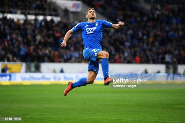 Andrej Kramaric of 1899 Hoffenhein celebrates scoring his teams second goal of the game during the Bundesliga match between TSG 1899 Hoffenheim and 1...