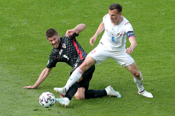 Andrej Kramaric of Croatia and Vladimir Darida of Czech Republic compete for a ball during the UEFA Euro 2020 Championship Group D match between...