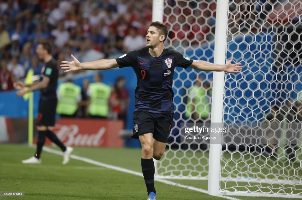 Andrej Kramaric (9) of Croatia celebrates after scoring a goal during the 2018 FIFA World Cup Russia quarter final match between Russia and Croatia at the at the Fisht Stadium in Sochi, Russia on July 07, 2018.